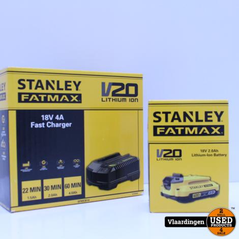 Stanley Fatmax V20 Accu SFMCB202 2,0 Ah + Stanley Fatmax V20 18V 4A Fast Charger - Nieuw in doos -