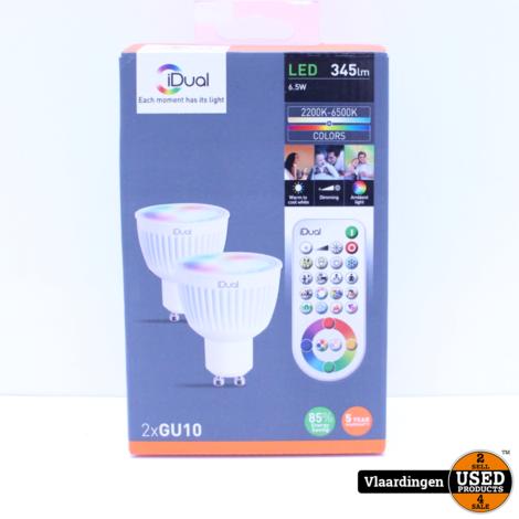 iDual 2 x GU10 LED lamp 345 lumen incl. afstandsbediening RGB - Nieuw in open doos -