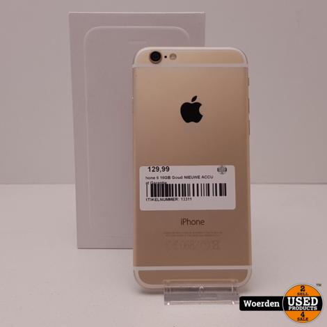iPhone 6 16GB Goud NIEUWE ACCU met Garantie