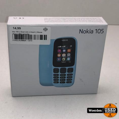 Nokia 105 || Dual sim || Zwart || Nieuw in doos || Met garantie