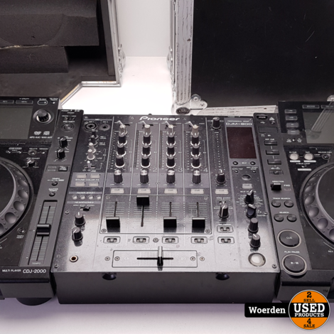 Pioneer CDJ2000 x 2 + DJM800 in flightcase met garantie