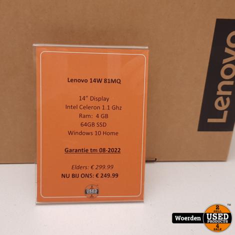 Lenovo 14W 81MQ AMD A6 1.8Ghz|4GB|64GBSSD NIEUW + BON met Garantie