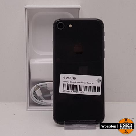 iPhone 8 64GB Space Gray Accu 92 met Garantie