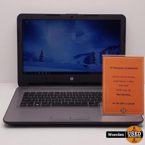 HP Notebook 14-AM002ND Cel 1.6Ghz 4GB 32GB  W10 met Garantie