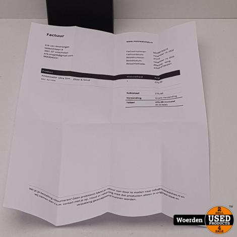 Ambassador Ultra Slim Zilver Zwart Leer NIEUW + BON