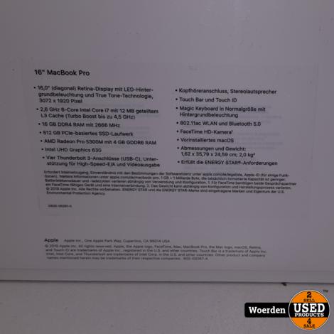MacBook Pro 16 i7 2.6GHz 16GB  512GBSSD NIEUW in Seal met Garantie