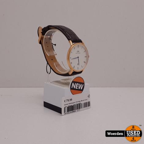 Daniel Wellington Horloge Bruin Croc Leer NIEUW met Garantie