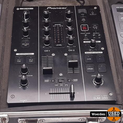 2 x Pioneer CDJ-350 + DJM-350 in Flightcase Nette Staat met Garantie