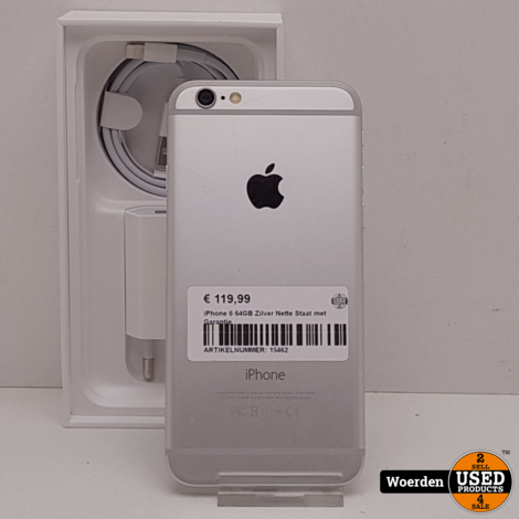 iPhone 6 64GB Zilver Nette Staat met Garantie