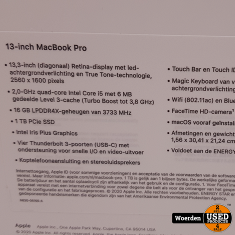 Macbook Pro 2020 13 Touch i5 2.0|16GB|1TB SSD NIEUW in Seal
