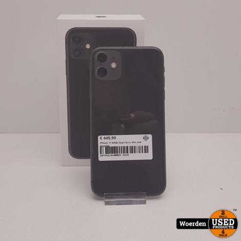 iPhone 11 64GB Zwart Accu 94% met Garantie