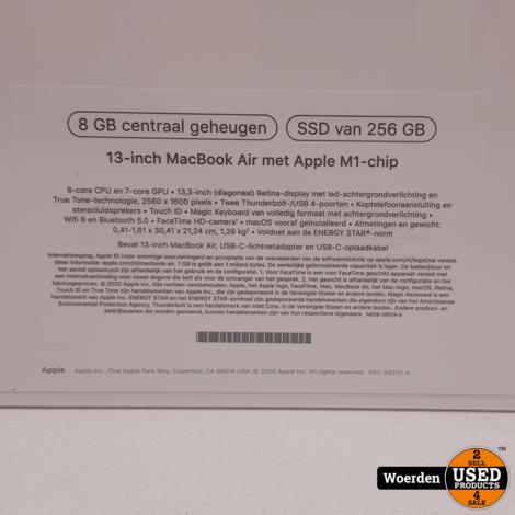 Macbook Air 2020 13 inch M1 Chip| 8GB| 256GBSSD met Garantie
