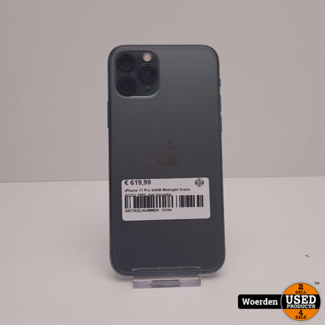 iPhone 11 Pro 64GB Midnight Green ACCU 100% met Garantie