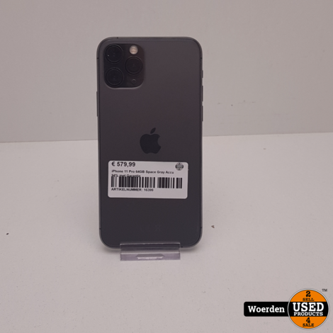 iPhone 11 Pro 64GB Space Gray Accu 94% met Garantie
