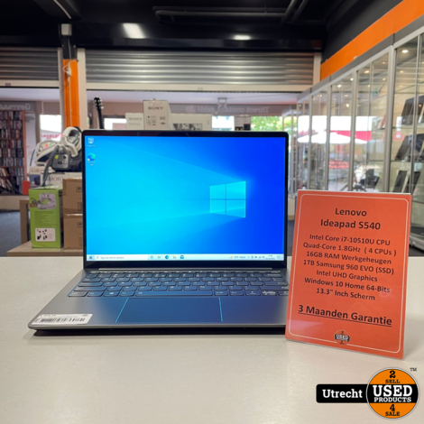 Lenovo Ideapad S540 i7/16GB/1TB Samsung Evo 960 SSD Win 10