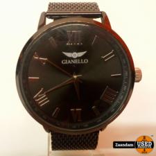 Gianello Gianello Mesh Gunmetal Roestvrijstaal Horloge   Incl. garantie