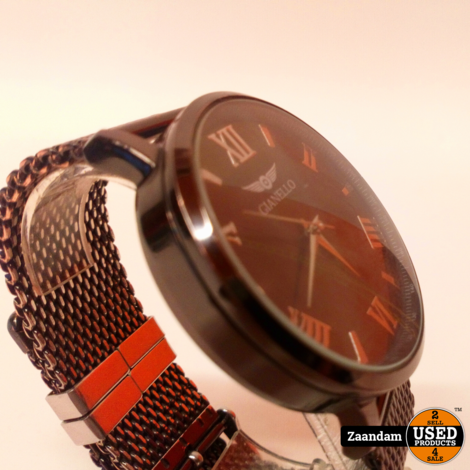 Gianello Mesh Gunmetal Roestvrijstaal Horloge   Incl. garantie