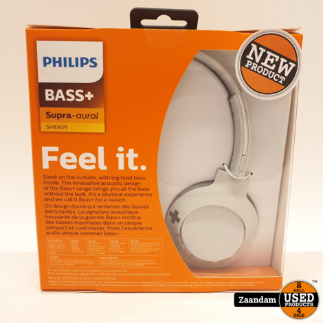 Philips SHB3075 Supra Aural Wit Hoofdtelefoon | Bass+ | Nieuw in seal