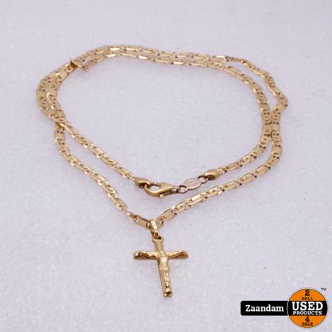 Gouden Ketting met Jezus Hanger   51cm   3cm   18Kt