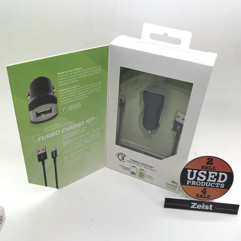 Celly Autolader USB 12/24V 2.4A + Lightning Datakabel | Zwart | NIEUW