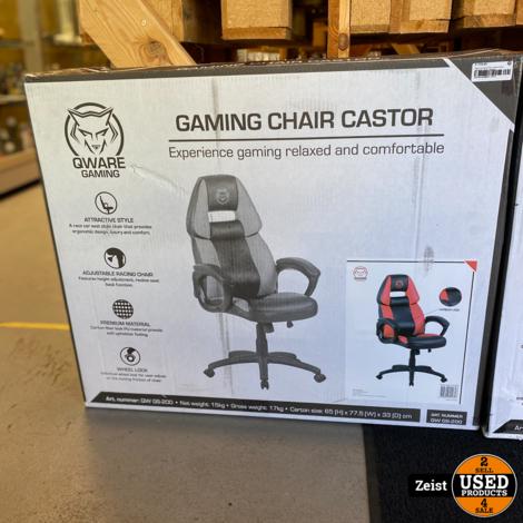 Qware Gaming Chair Castor Stoel   QW-G200   Rood   NIEUW