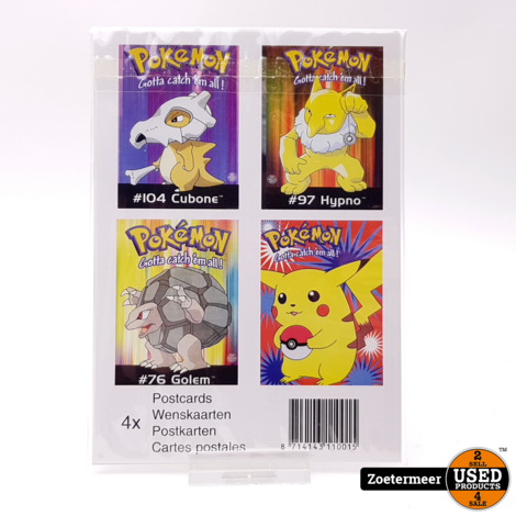 Pokémon originele verzamelkaarten (Golem, Cubone, Hypno, Pikachu)