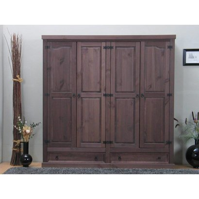 Bruine kledingkast 4-deurs New Mexico