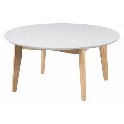 Astrid ronde salontafel wit en eiken