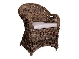 Norrut Simi fauteuil grijs rotan met wit kussen