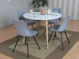 Napoli eethoek ronde tafel met 4 grijze kuipstoelen