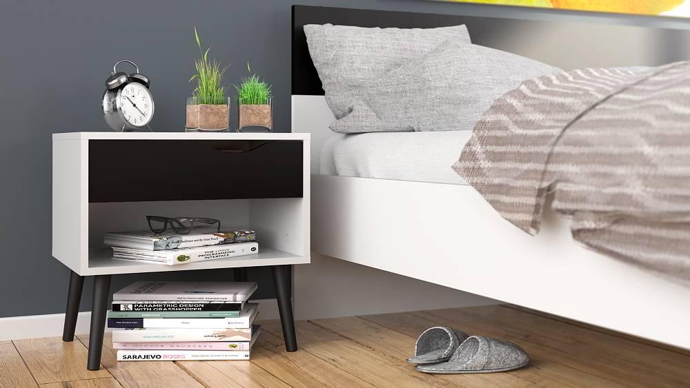 Design Nachtkastjes Wit.Tvilum Napoli Nachtkastje Zwart Wit
