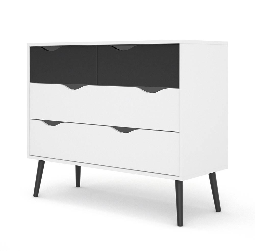 Zwarte Hoogglans Ladenkast.Napoli Commode Ladenkast Met 2x2 Laden Zwart Wit