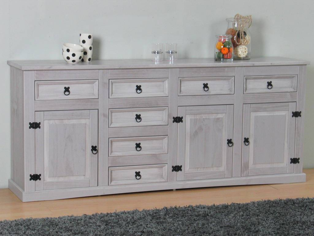 Mexicaanse Grenen Tv Kast.New Mexico Breed Dressoir Grijs