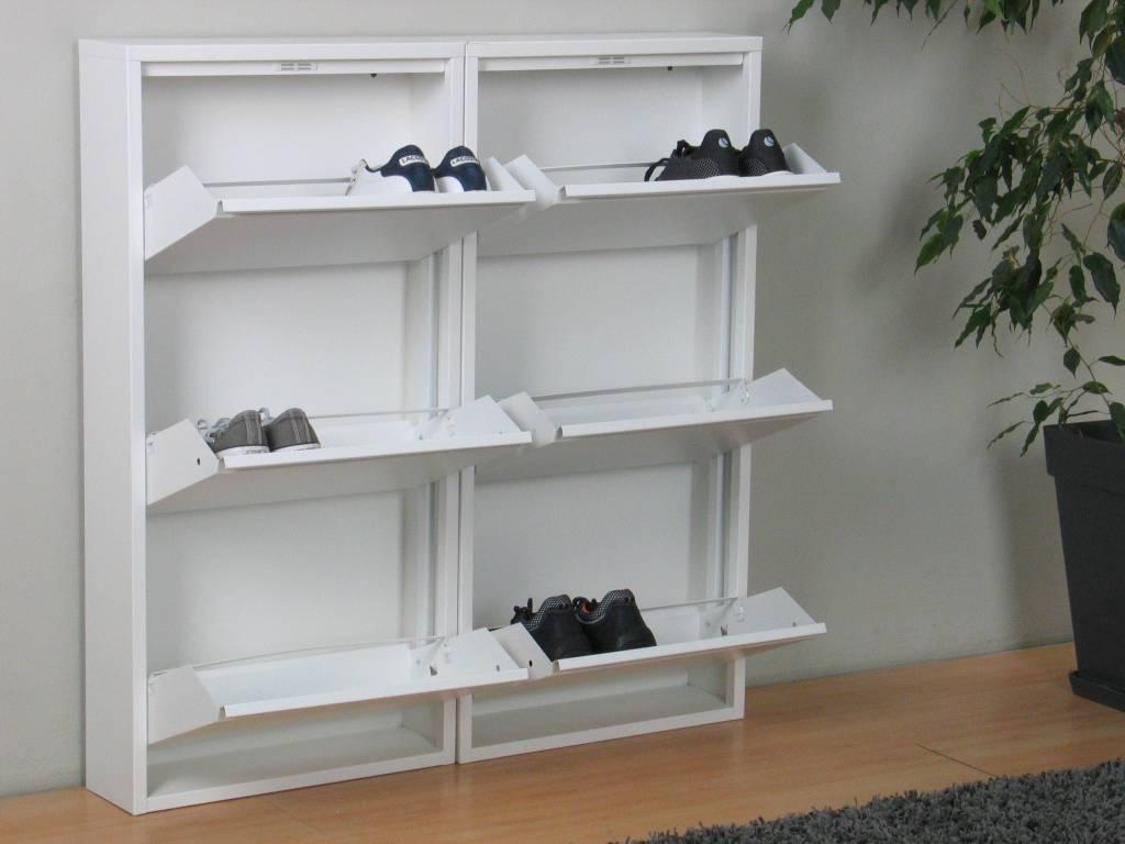 Pisa schoenenkast wit metaal met 3 vakken set van 2
