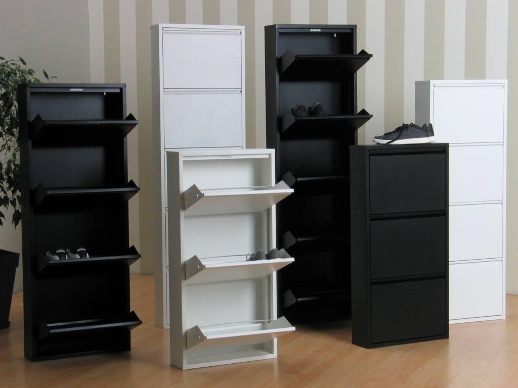 Metalen Witte Schoenenkast.Pisa Schoenenkast Zwart Metaal Met 3 Vakken Set Van 2