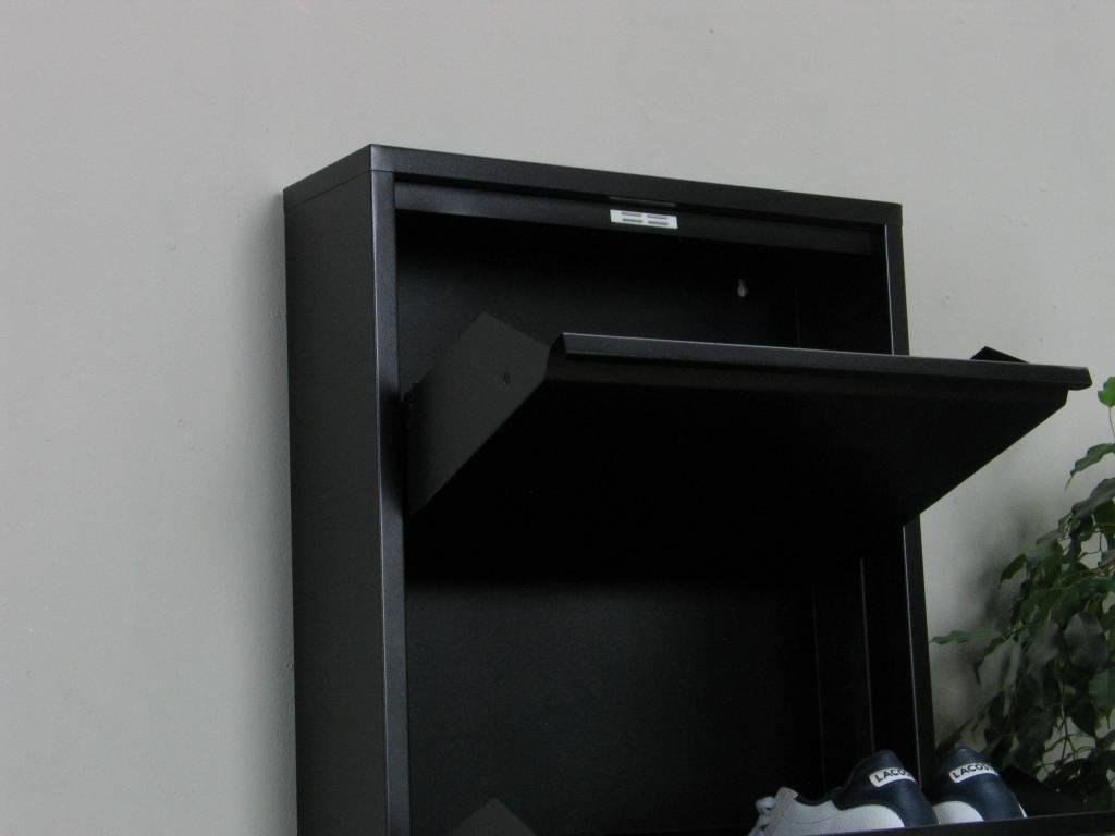 Schoenenkast Voor In De Hal.Pisa Schoenenkast Zwart Metaal Met 4 Vakken