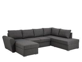 Stan hoekbank slaapbank met chaise longue links en opbergruimte stof grijs
