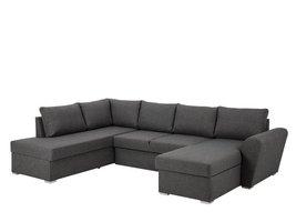 Stan hoekbank slaapbank met chaise longue rechts en opbergruimte stof grijs