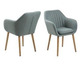 FYN Emil fauteuil stof met verticale naden - grijsgroen
