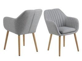 Emil fauteuil stof VIC met verticale naden - lichtgrijs