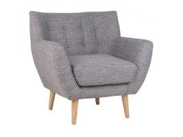 Norrut Moon fauteuil lichtgrijs stof massief eiken pootjes