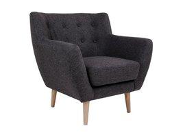 Norrut Moon fauteuil donkergrijs stof massief eiken pootjes