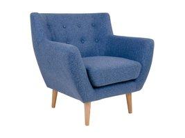 Norrut Moon fauteuil blauw stof massief eiken pootjes