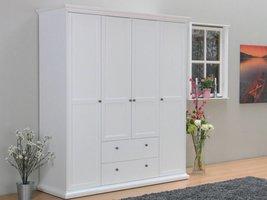 Garderobekast wit met 4 deuren en 2 laden Venetië 181x201x61 cm