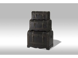 Kiras dekenkisten zwart met rond deksel - set van 3