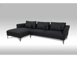 Solliden Barly 3-zitsbank met chaise longue links bonded leather zwart