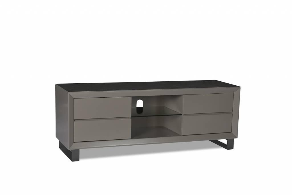 Glazen tv meubel met rvs staanders zwart en chrome