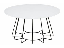 Caja salontafel rond glas wit