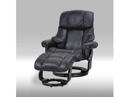 Furn House Camo fauteuil met hocker zwart