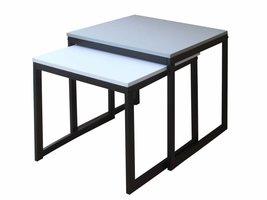 Bernie bijzettafels inschuifbaar salontafel wit / grijs - set van 2